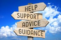 Wooden signpost with four arrows - help, support, advice, guidance